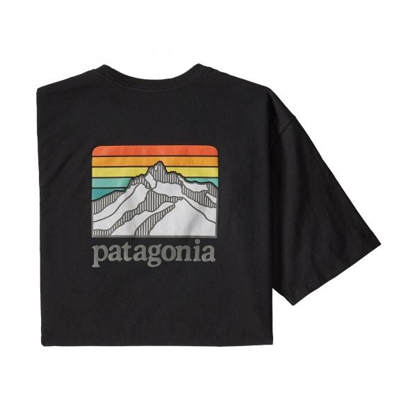 Patagonia Line Logo Ridge Pocket Responsibili-Tee BLK
